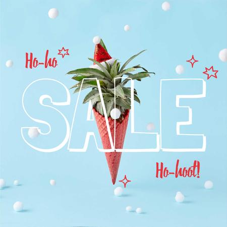 Template di design Christmas Sale with Tropical cone Instagram