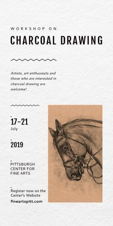 Drawing Workshop Announcement Horse Image Graphic Modelo de Design