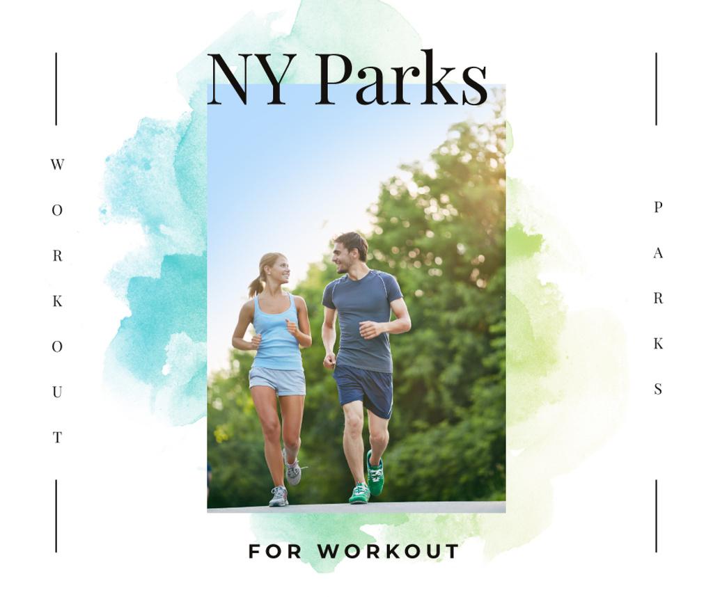 Plantilla de diseño de Man and woman running outdoors Facebook