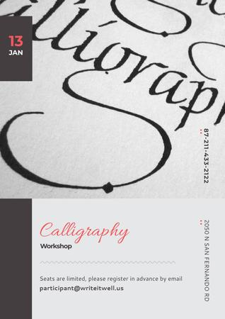 Plantilla de diseño de Calligraphy workshop Announcement Poster