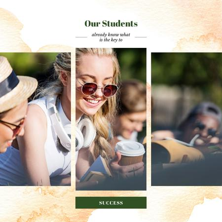 Young People Reading Outdoors Instagram AD Modelo de Design