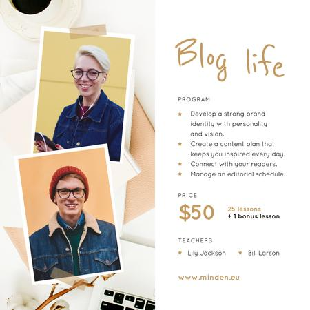 Lifestyle Blog Ad Young People Denim Clothes Instagram Design Template