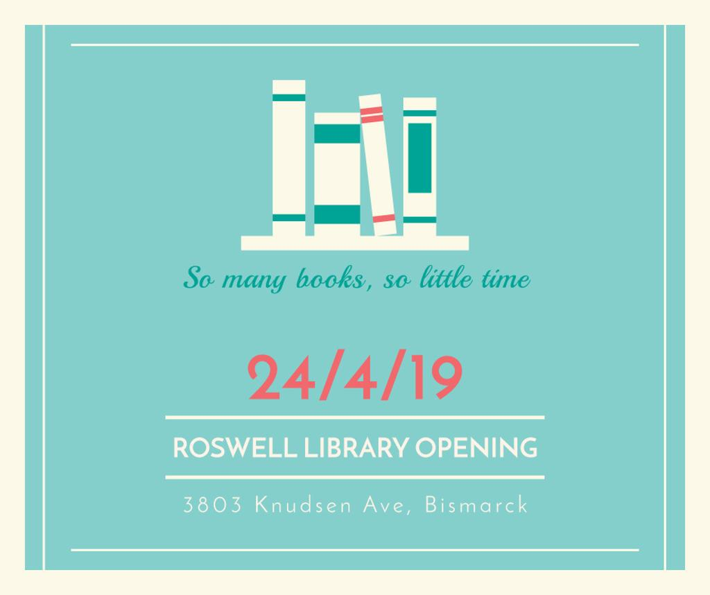 Library Opening Announcement Books on Shelves | Facebook Post Template — Создать дизайн