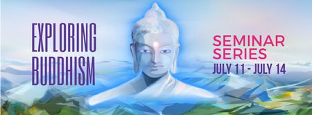 Buddha image over mountains landscape Facebook Video cover Modelo de Design