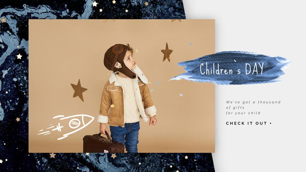 Kid pretending an aviator — Crea un design