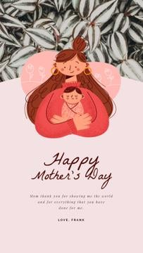 Mother's Day Greeting Happy Mother with Baby | Vertical Video Template