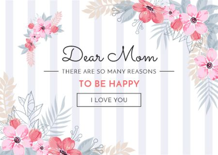 Happy Mother's Day Greeting in Pink Flowers Postcard – шаблон для дизайну