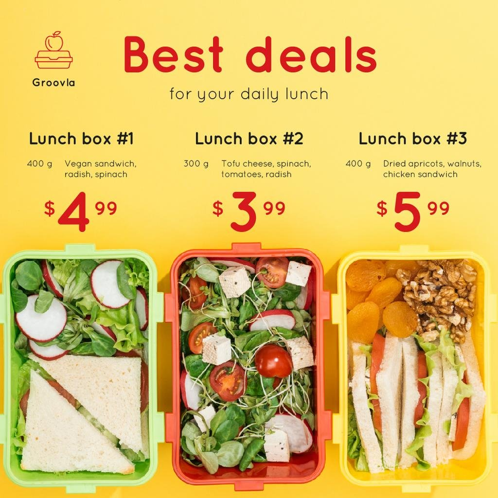 Daily Lunch Deals Boxes with Healthy Food — Create a Design
