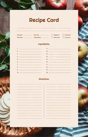 Ontwerpsjabloon van Recipe Card van Pie with Fresh Apples and Branches