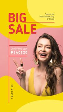 International Day of Peace Sale Girl Showing Victory Sign