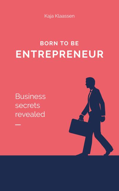 Plantilla de diseño de Silhouette of Businessman with Suitcase in Red Book Cover