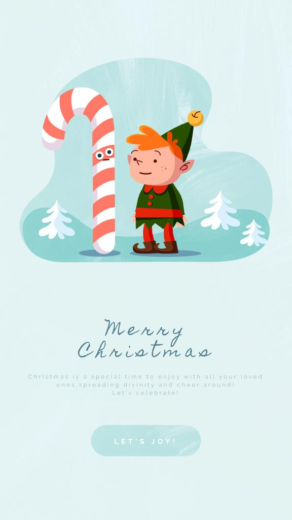 Christmas elf with candy cane — Create a Design