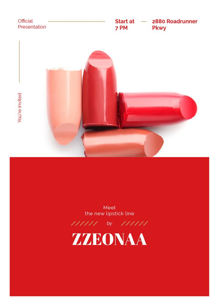 Modèle de visuel Set of lipstick pieces for Cosmetics ad - Invitation