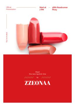 Set of lipstick pieces for Cosmetics ad