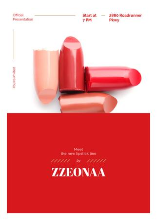 Template di design Set of lipstick pieces for Cosmetics ad Invitation