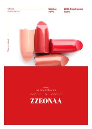 Set of lipstick pieces for Cosmetics ad Invitation Modelo de Design
