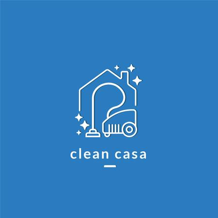 Cleaning Services Ad with Vacuum Cleaner in Blue Logo Tasarım Şablonu