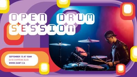 Modèle de visuel Concert announcement Musician Playing Drums - FB event cover