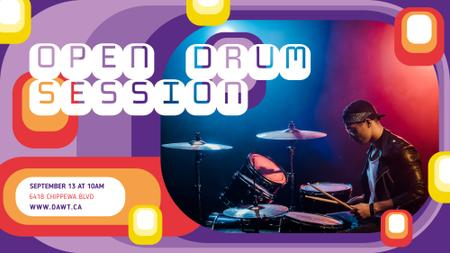 Concert announcement Musician Playing Drums FB event cover Modelo de Design