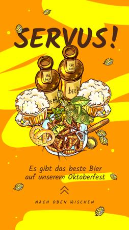 Ontwerpsjabloon van Instagram Story van Oktoberfest Offer Beer Served with Snacks in Yellow