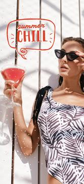 Woman in Swimsuit with cocktail