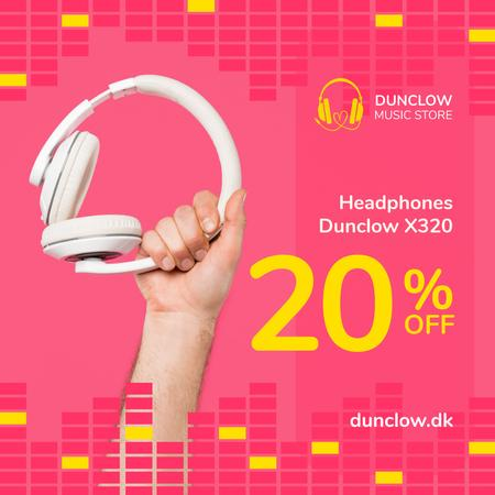 Plantilla de diseño de Electronics Offer Hand with Headphones on Pink Instagram AD
