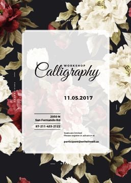 Calligraphy workshop banner with flowers