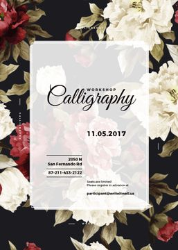 Calligraphy workshop Annoucement with flowers