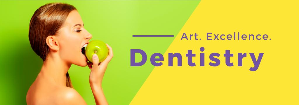dentistry advertisement poster with young woman eating apple — ein Design erstellen