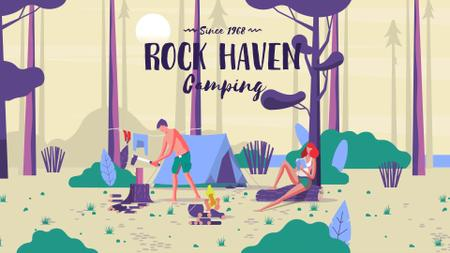 Template di design People camping in forest Full HD video
