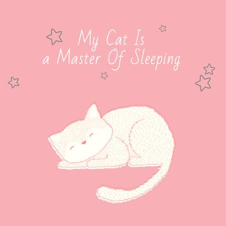 Ontwerpsjabloon van Instagram van Citation about sleeping cat