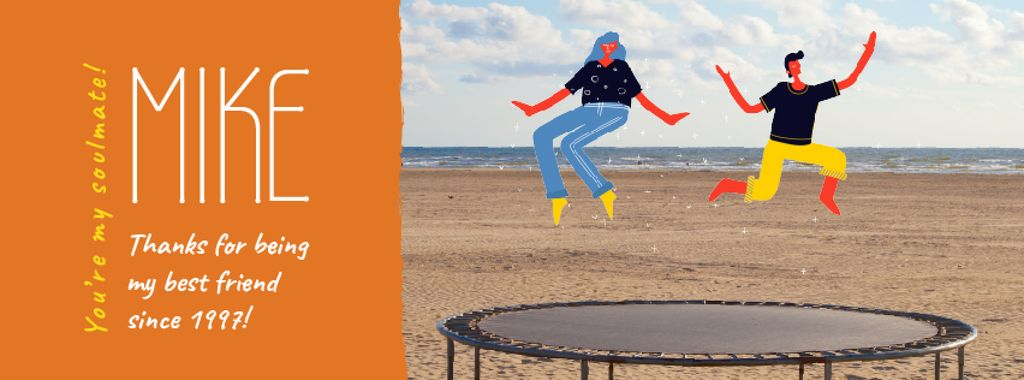 Best Friends Day People Jumping on Trampoline — Maak een ontwerp