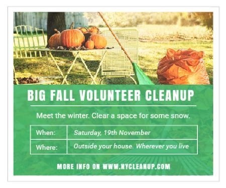 Plantilla de diseño de Big fall volunteer cleanup Large Rectangle