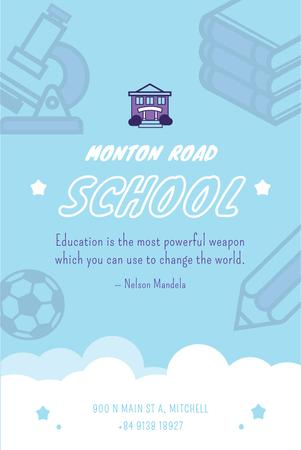 School Advertisement with Studying Icons in Blue Pinterest Modelo de Design