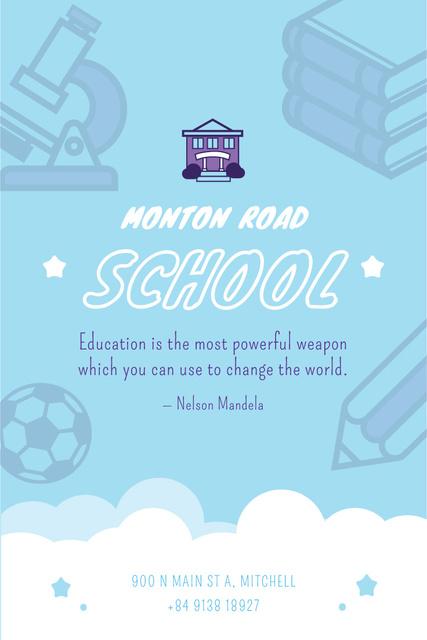 School Advertisement with Studying Icons in Blue Pinterest – шаблон для дизайну
