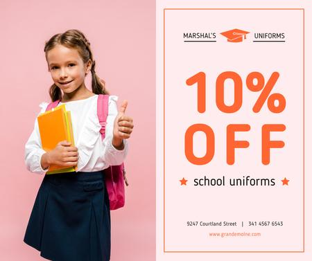 Uniform Offer smiling Schoolgirl with Books Facebookデザインテンプレート