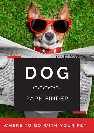 Cute Dog in sunglasses in Park Poster Design Template