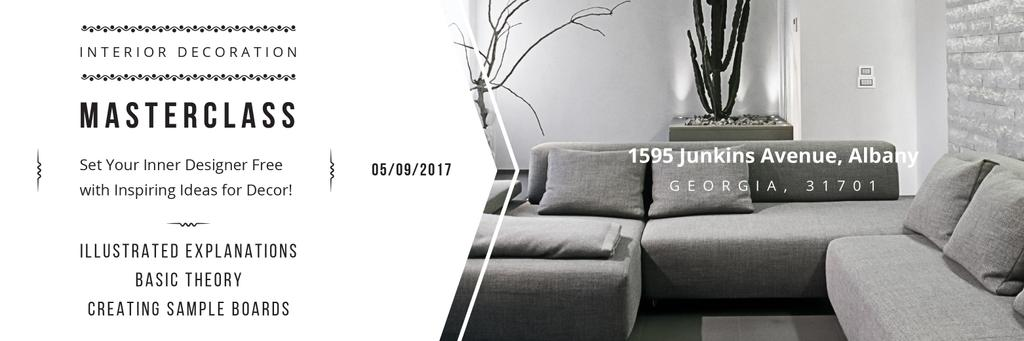 Interior Decoration Event Announcement Sofa in Grey | Twitter Header Template — ein Design erstellen