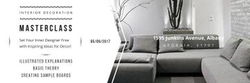 Interior Decoration Event Announcement Sofa in Grey | Twitter Header Template