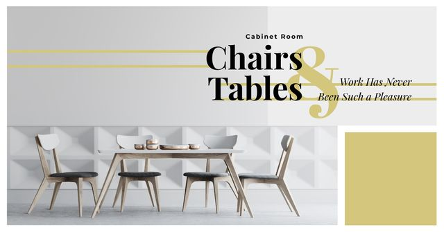 Stylish Dining Room Interior in White Facebook AD Modelo de Design