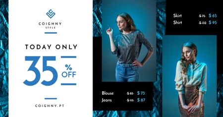 Fashion Sale Stylish Woman in Blue Facebook AD Modelo de Design