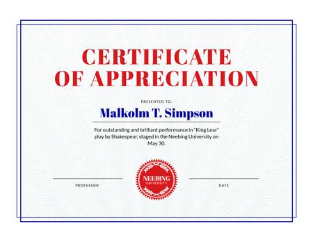 Appreciation for Theatrical Performance in Red and White Certificate Modelo de Design