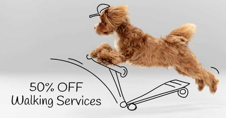 Designvorlage Funny Dog for Walking Services offer für Facebook AD