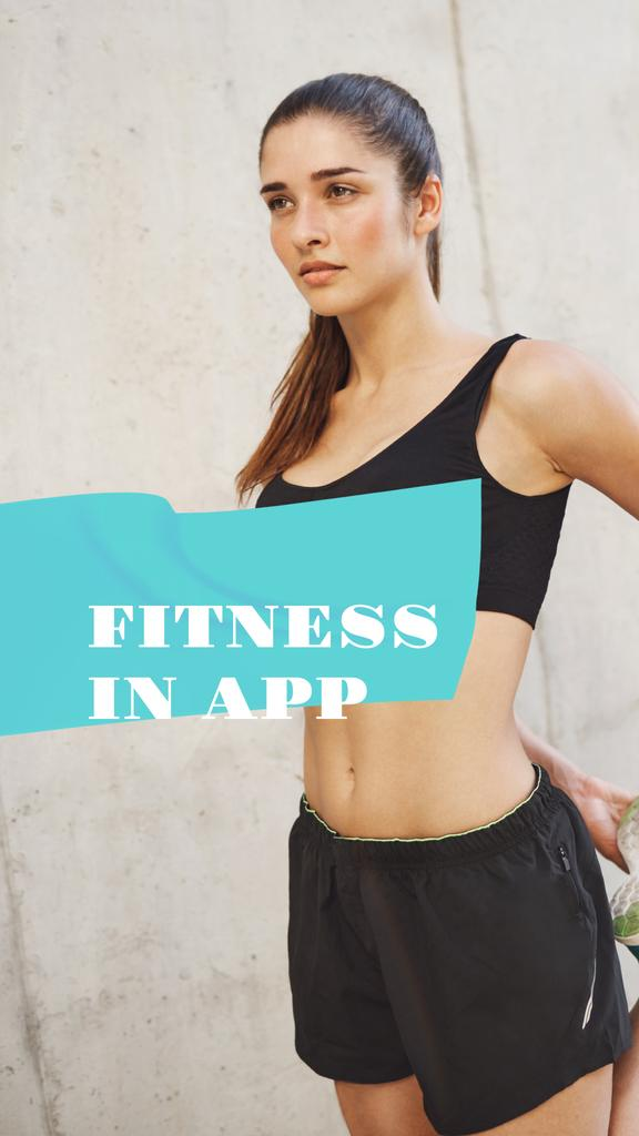 Fitness App promotion with Woman at Workout — Crear un diseño