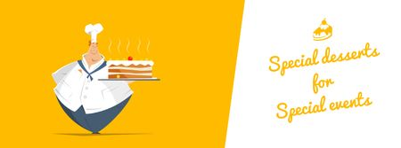 Template di design Chef holding sweet cake Facebook Video cover