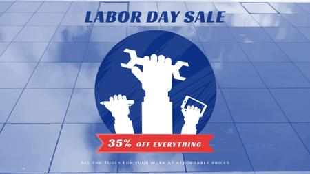 Labor Day Sale Hands with Tools Full HD video Modelo de Design