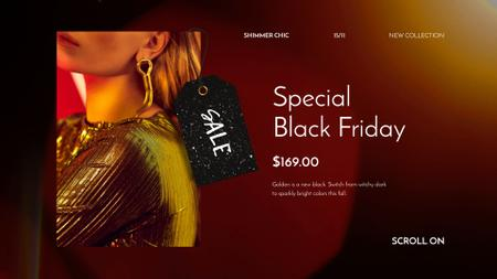 Template di design Black Friday Sale Woman in Shiny Dress Full HD video