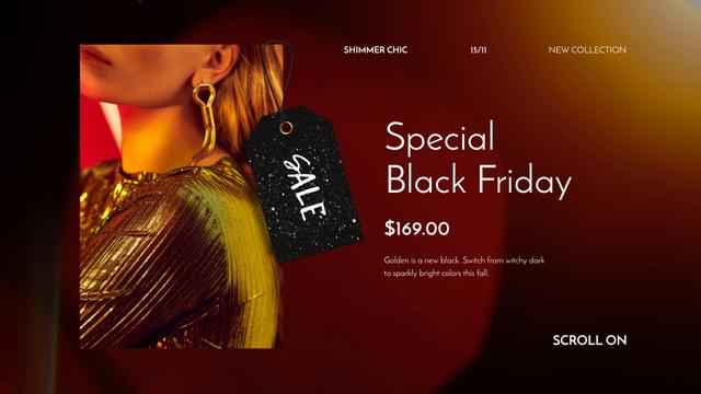 Plantilla de diseño de Black Friday Sale Woman in Shiny Dress Full HD video