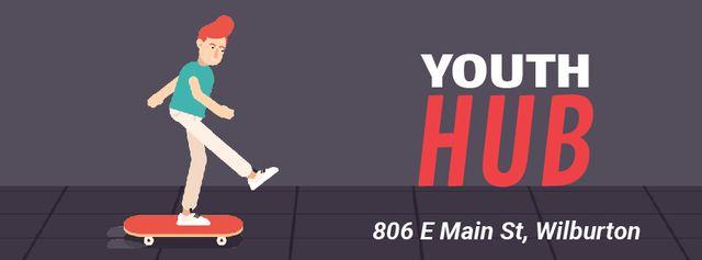 Modèle de visuel Skater riding on street - Facebook Video cover