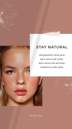 Cosmetics Offer with Girl without makeup Instagram Story Modelo de Design